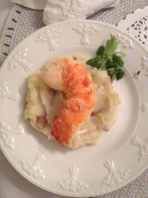 I made an appetizer of garlic-herb mashed potatoes and lobster tail.